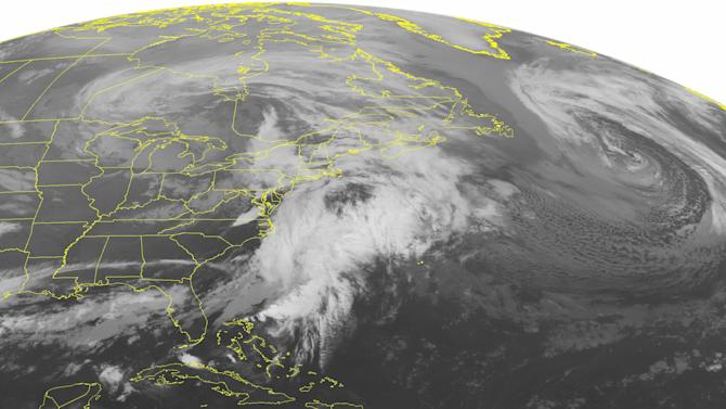 This NOAA satellite image taken Tuesday, April 21, 2015, at 12:45 AM EDT shows a giant storm over Canada with its fronts extending down to the Gulf Coast. This is producing clouds and showers throughout the Northeast. Some of showers are thunderstorms along where a secondary low pressure system is developing over southern New England. Behind the storm systems are clearing skies that stretch from the Ohio Valley down to the Gulf Coast. (NOAA/Weather Underground via AP)