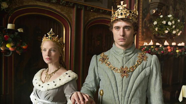 "This publicity image released by Starz shows Rebecca Ferguson, left, and Max Irons, in ""The White Queen,"" premiering Saturday at 8 p.m. EDT. (AP Photo/Starz, Ed Miller)"