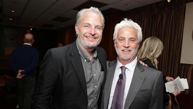 """Francis Lawrence, Director of the upcoming film """"The Hunger Games: Catching Fire"""" and Lionsgate's Rob Friedman at Lionsgate Presentation at 2013 CinemaCon, on Thursday, April, 18th, 2013 in Las Vegas. (Photo by Eric Charbonneau/Invision for Lionsgate/AP Images)"""