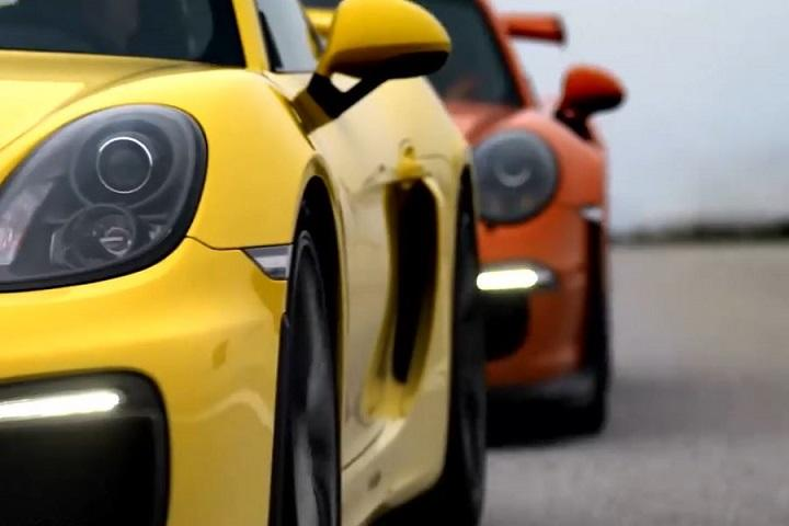 Watch the Porsche Cayman GT4 and 911 GT3 RS Go Head to Head