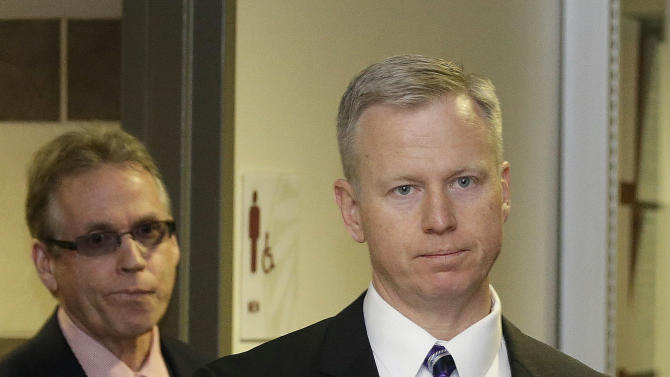 District Attorney George Brauchler arrives at district court for a hearing in the case of Aurora theater shooting suspect James Holmes in Centennial, Colo., on Monday, April 1, 2013. Brauchler announced he will seek the death penalty against Holmes. (AP Photo/Ed Andrieski)