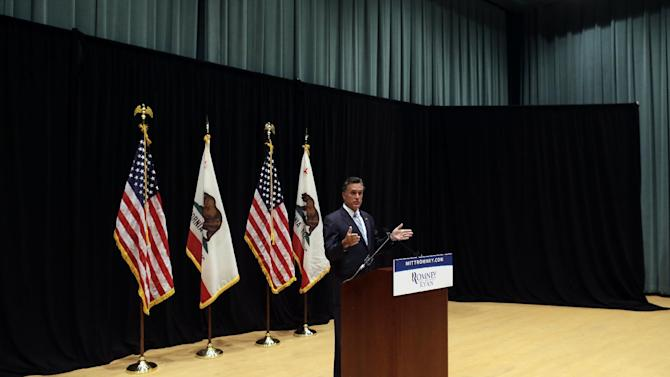 Republican presidential candidate and former Massachusetts Gov. Mitt Romney speaks to reporters about a secretly taped video from a fundraising event in Costa Mesa, Calif., Monday, Sept. 17, 2012. (AP Photo/Charles Dharapak)