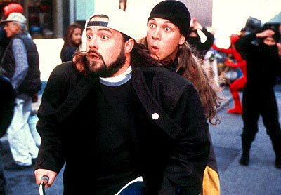 Kevin Smith as Silent Bob and Jason Mewes as Jay in Dimension's Jay and Silent Bob Strike Back