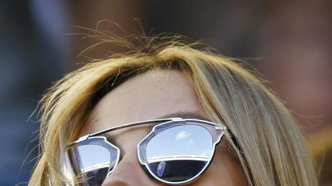 Satorova, fiancee of Berdych of the Czech Republic, watches as he plays Murray of Britain in their men's singles semi-final match at the Australian Open 2015 tennis tournament in Melbourne