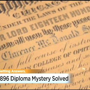 119-Year-Old Diploma Reunited With Man's Roseville Granddaughter