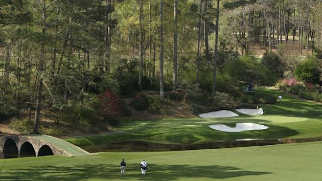 Generic view of the 12th green at Augusta National golf club, venue for The Masters
