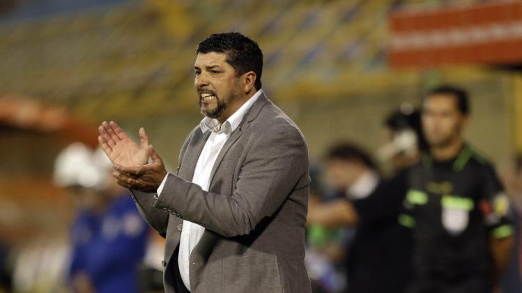 Coach Ramos of Danubio reacts during their Copa Sudamericana soccer match against Deportivo Capiata in Luque