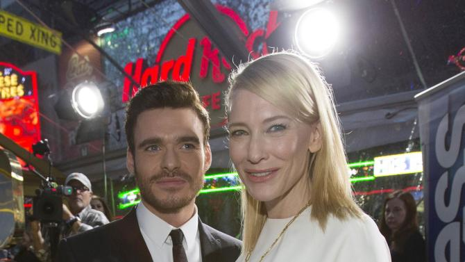 "Cast members Richard Madden and Cate Blanchett pose at the premiere of ""Cinderella"" at El Capitan theatre in Hollywood"
