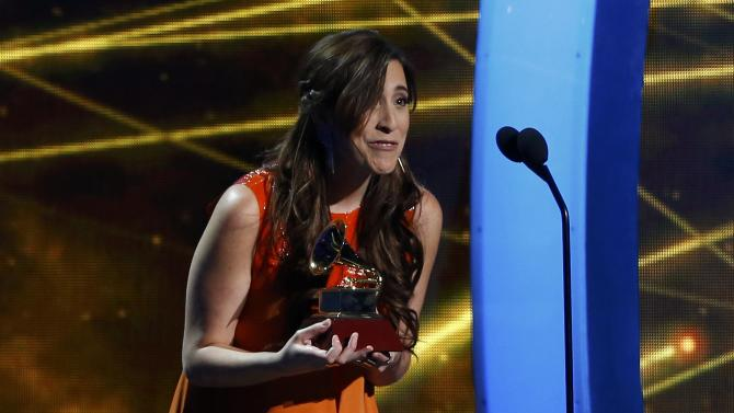 Mariana Vega accepts the award for best new artist at the 15th Annual Latin Grammy Awards in Las Vegas