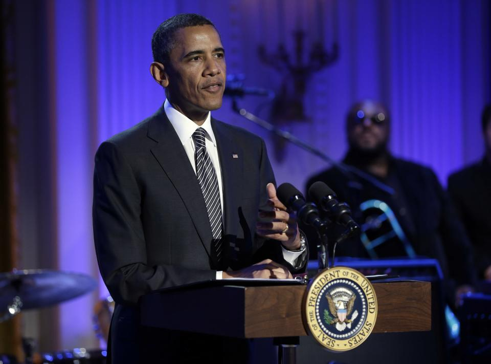 "President Barack Obama speaks during the ""In Performance at the White House"" in the East Room of the White House in Washington, Tuesday, April 9,  2013, a program for a celebration of Memphis Soul Music. (AP Photo/Pablo Martinez Monsivais)"