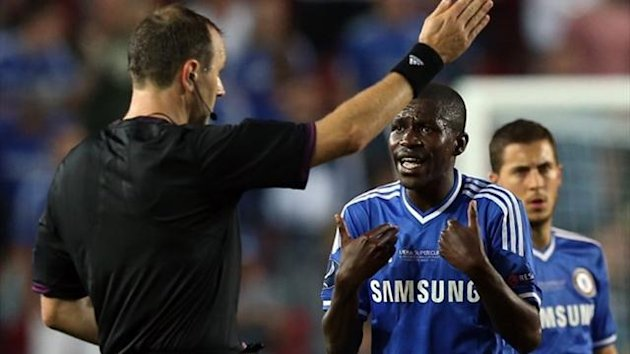 Chelsea's Ramires is sent off the pitch by referee Jonas Eriksson from Sweden during the UEFA Super Cup (Reuters)