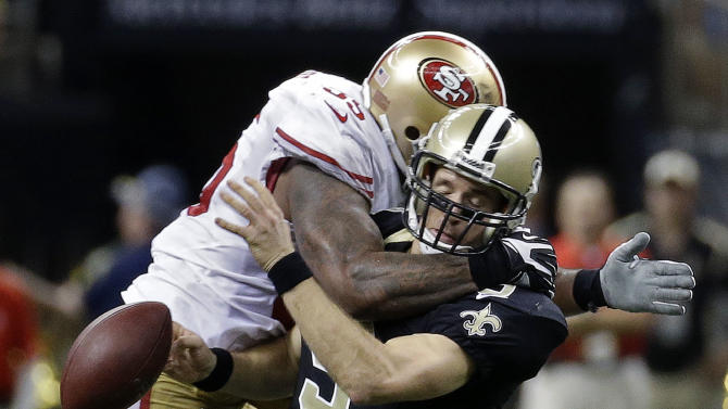 NFL fines 49ers LB Brooks $15,570 for hit on Brees