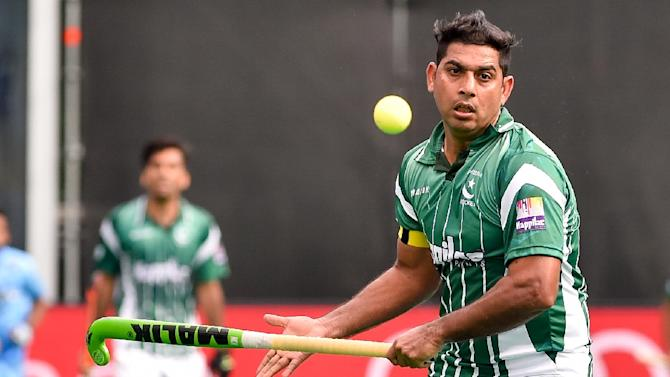 Pakistan's Imran Muhammad in action against India in their World Hockey League semi-final match in Belgium, on June 26, 2015