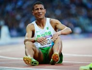 Algeria&#39;s Taoufik Makhloufi reacts after competing in the men&#39;s 1500m semi-finals at the athletics event during the London 2012 Olympic Games on August 5, in London. Makhloufi was Monday cleared to run in the Olympic 1500m final after he was earlier thrown out of the Olympics for not trying hard enough in his 800m heat