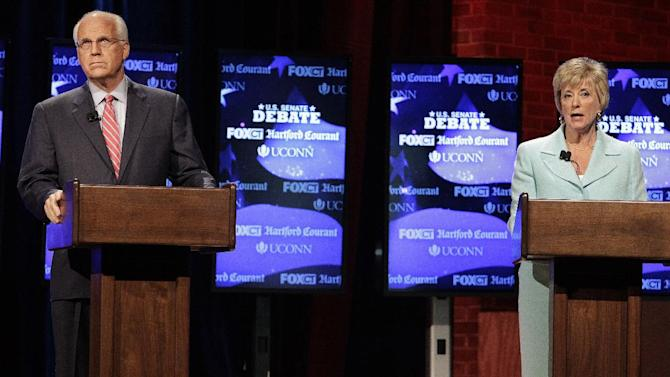 FILE - In this June 14, 2012 file photo, Connecticut Republican Senate candidates, former Rep. Christopher Shays and former wrestling executive Linda McMahon participate in a Senate debate,  on the University of Connecticut campus in Storrs, Conn. Democrats have their thumbs heavily on Republican scales in Senate primaries in Missouri and Wisconsin this summer, hoping to tip the balance and improve their own chances of maintaining a majority in November.  The idea isn't as far-fetched as it might sound. (AP Photo/Stephan Savoia, File)