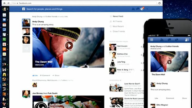 Facebook News Feed Redesigned with Larger Images and Different Feeds (ABC News)