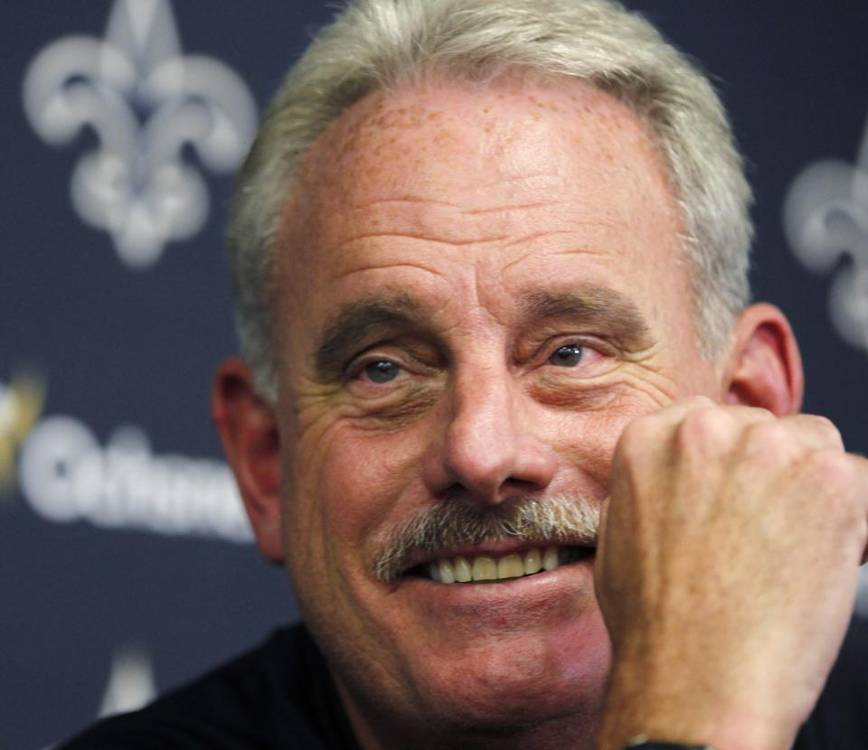New Orleans Saints assistant head coach Joe Vitt talks to reporters after players reported for training camp at the NFL football team's facility in Metairie, La., Tuesday, July 24, 2012. (AP Photo/Gerald Herbert)