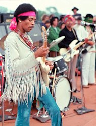 Jimi Hendrix at Woodstock in 1969