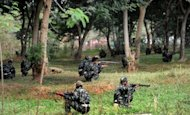 Indian police take part in a training session near Jagdalpur, the capital of Chhattisgarh. At least 21 Maoist rebels have been killed in a series of violent clashes with security forces in the central state of Chhattisgarh, a hotbed of left-wing extremism, police told AFP