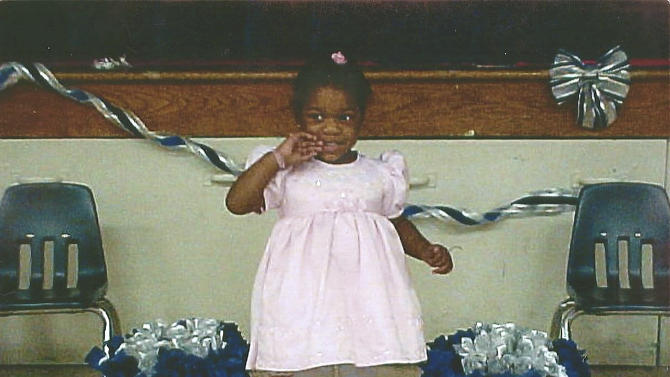 This Nov. 10, 2003 photo released by Tarshia Williams shows Williams' daughter Talia Williams in Orangeburg, S.C. Jurors are considering whether to sentence Naeem Williams, a former Hawaii soldier, to death or life in prison after he was convicted of beating his daughter Talia to death. (AP Photo/Tarshia Williams)
