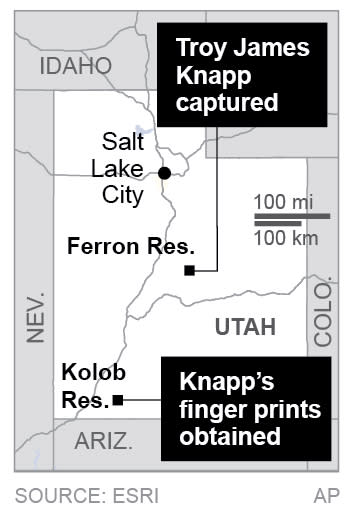 Map locates sites related to James Troy Knapp