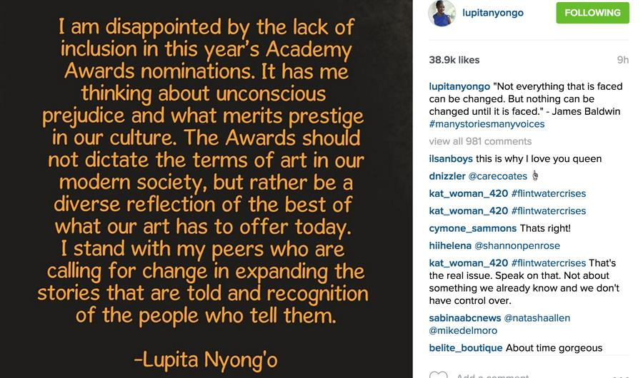 Academy Award Winner Lupita Nyong'o Has Even More Feelings About #OscarsSoWhite