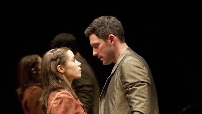 """In this theater publicity image released by Boneau/Bryan-Brown, Steve Kazee, right, and Cristin Milioti are shown in a scene from """"Once,"""" in New York. (AP Photo/Boneau/Bryan-Brown, Joan Marcus)"""
