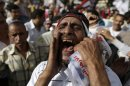 Egyptian protesters shout anti-President Mohammed Morsi slogans in Tahrir Square, in Cairo, Egypt, Friday, May 17, 2013. Hundreds of protesters gathered to demand early presidential elections and the removal of the Muslim Brotherhood&#039;s regime. (AP Photo/Hassan Ammar)