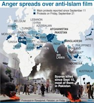 Map showing protests against anti-Islam film