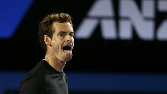 Andy Murray of Britain reacts after winning a point against Grigor Dimitrov of Bulgaria during their men's singles fourth round match at the Australian Open 2015 tennis tournament in Melbourne