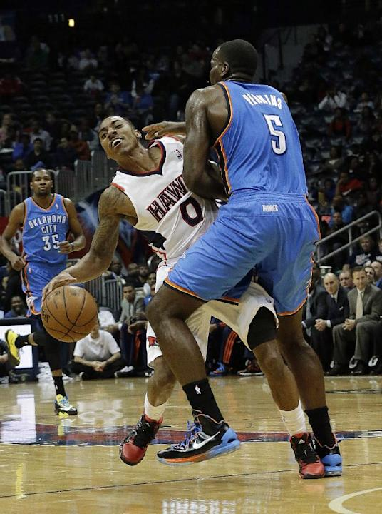 Atlanta Hawks point guard Jeff Teague (0) is fouled by Oklahoma City Thunder center Kendrick Perkins (5) in the first half of an NBA  basketball game Tuesday, Dec. 10, 2013, in Atlanta