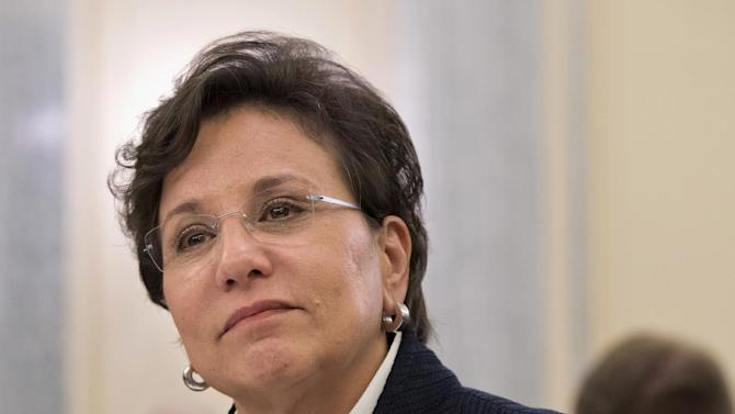 FILE - In this May 23, 2013 file photo, Chicago billionaire business executive Penny Pritzker, President Obama's pick for Commerce Secretary, testifies on Capitol Hill in Washington. On Tuesday, the Senate confirmed Pritzker as Commerce secretary in a bipartisan vote. (AP Photo/J. Scott Applewhite)