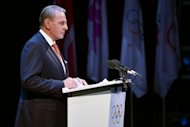 International Olympic Comittee (IOC) President Jacques Rogge delivers a speech during the opening ceremony of the International Olympic Committee session in London, four days ahead of the beginnning of the London 2012 Olympic Games