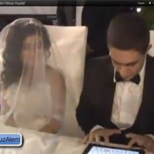 Turkish bride and groom exchange wedding vows via Twitter and iPad.