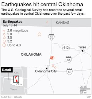 Graphic shows earthquakes in Oklahoma over the past three days; 2c x 3 1/2 inches; 96.3 mm x 88 mm;