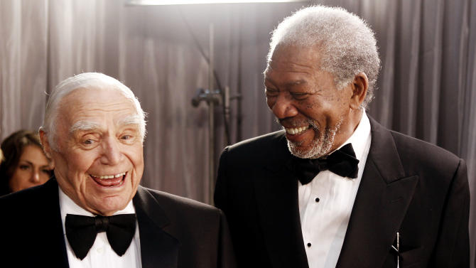 Ernest Borgnine, left, and Morgan Freeman are seen backstage at the 17th Annual Screen Actors Guild Awards on Sunday, Jan. 30, 2011 in Los Angeles. (AP Photo/Matt Sayles)