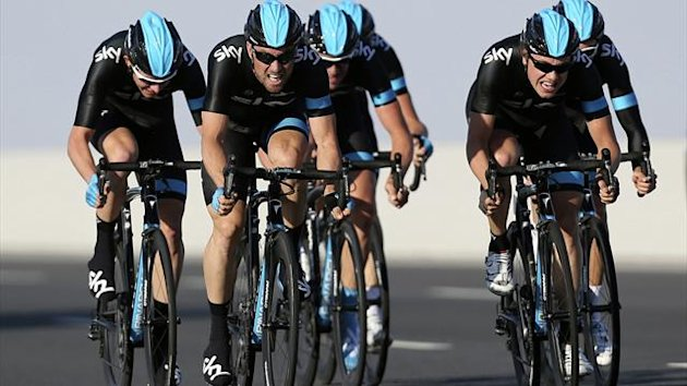 Team Sky riders cycle during the second stage of the 2013 cycling Tour of Qatar (Reuters)