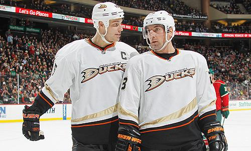 Anaheim Ducks' Ryan Getzlaf and Francois Beauchemin