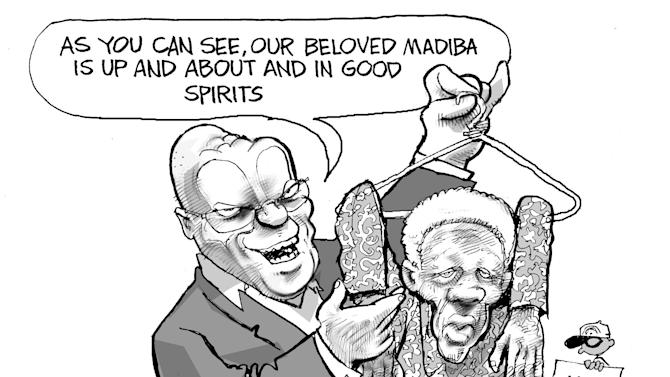 This cartoon supplied by the artist depicts South Africa president Jacob Zuma, left, holding a clothes hanger from which the once robust former president nelson Mandela dangles limply, eyelids sagging. This cartoon by Dov Fedler , which appeared last month, makes light of a visit  Zuma, had with Mandela. After the encounter at Mandela's home, Zuma cheerily said the 94-year-old was up and about, in good spirits and doing well. But the images carried by state TV showed Mandela sitting with a blanket covering his legs, silent and unmoving with his cheeks showing what appear to be marks from a recently removed oxygen mask. Mandela did not acknowledge Zuma, who sat right next to Mandela. The footage unsettled some viewers who considered the visit to be a stunt to make Zuma look good.  The ANC insisted it had no ulterior motive ahead of elections next year, and that it was only showing respect for a living national treasure. (AP Photo/Dov Fedler) SOUTH AFRICA OUT