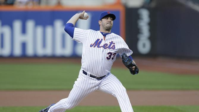 New York Mets starting pitcher Matt Harvey (33) delivers a pitch during the first inning of a baseball game against the Los Angeles Dodgers Saturday, July 25, 2015, in New York. (AP Photo/Frank Franklin II)