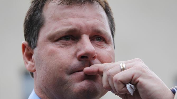 FILE - This June 18, 2012 file photo shows former Major League Baseball pitcher Roger Clemens pausing as he speaks to the media outside federal court in Washington. With the cloud of steroids shrouding many candidacies, baseball writers may fail for the only the second time in more than four decades to elect anyone to the Hall. (AP Photo/Pablo Martinez Monsivais, File)