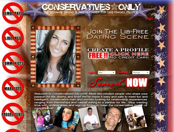 ConservativesOnly.com is a niche dating site with strict no-liberals policy. (ConservativesOnly.com)