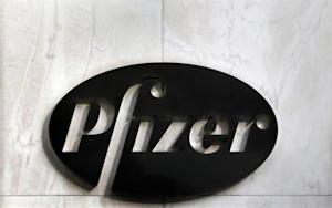 The Pfizer logo is seen outside their world headquarters in New York