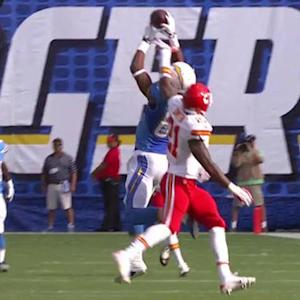 San Diego Chargers receiver Malcom Floyd 24-yard leaping catch