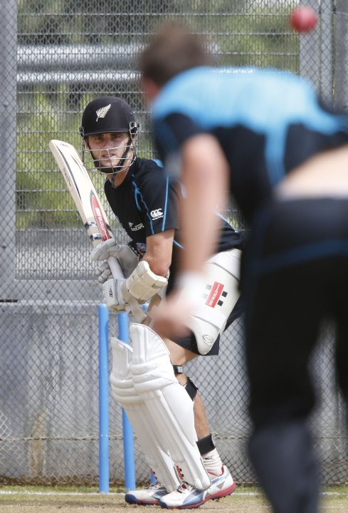 New Zealand's Williamson faces a delivery at a training session in Auckland