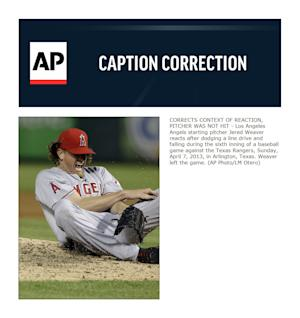 CORRECTS CONTEXT OF REACTION, PITCHER WAS NOT HIT - Los Angeles Angels starting pitcher Jered Weaver reacts after dodging a line drive and falling during the sixth inning of a baseball game against the Texas Rangers, Sunday, April 7, 2013, in Arlington, Texas. Weaver left the game. (AP Photo/LM Otero)