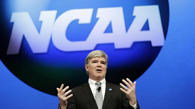 FILE -- In a Jan. 17, 2013 file photo NCAA President Mark Emmert speaks at the organization's annual convention in Grapevine, Texas.  The University of Miami is critical of the NCAA's investigation into the University.   (AP Photo/LM Otero, file)