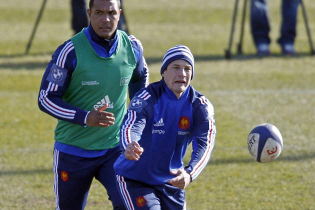 France rugby player Francois Trinh-Duc and Thierry Dusautoir attend a training session at the Rugby Union National Centre in Marcoussis, south of Paris