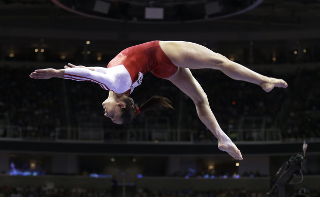 Jordyn Wieber performs on the balance beam during the preliminary round of the women's Olympic gymnastics trials, Friday, June 29, 2012, in San Jose, Calif. (AP Photo/Gregory Bull)