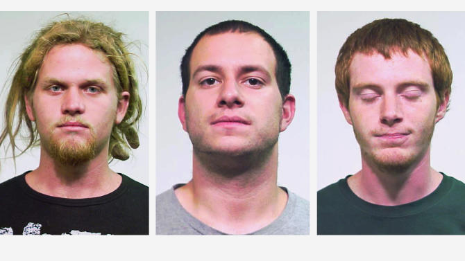 FILE - This combo made of undated file photos provided by the Chicago Police Department shows from left, Brent Vincent Betterly, 24, of Oakland Park, Fla., Jared Chase, 24, of Keene, N.H., and Brian Church, 20, of Ft. Lauderdale, Fla. Lawyers for the three men, accused of plotting Molotov cocktail attacks during last year's NATO summit in Chicago, filed a motion Friday, Jan. 25, 2013, asking that terrorism charges be dismissed. Defense attorney Michael Deutsch says the motion filed was accompanied by a 25-page memo. The paperwork argues that the definition of terrorism in Illinois statutes is unconstitutionally vague and opens the door to politically motivated charges. (AP Photo/Chicago Police Department, File)